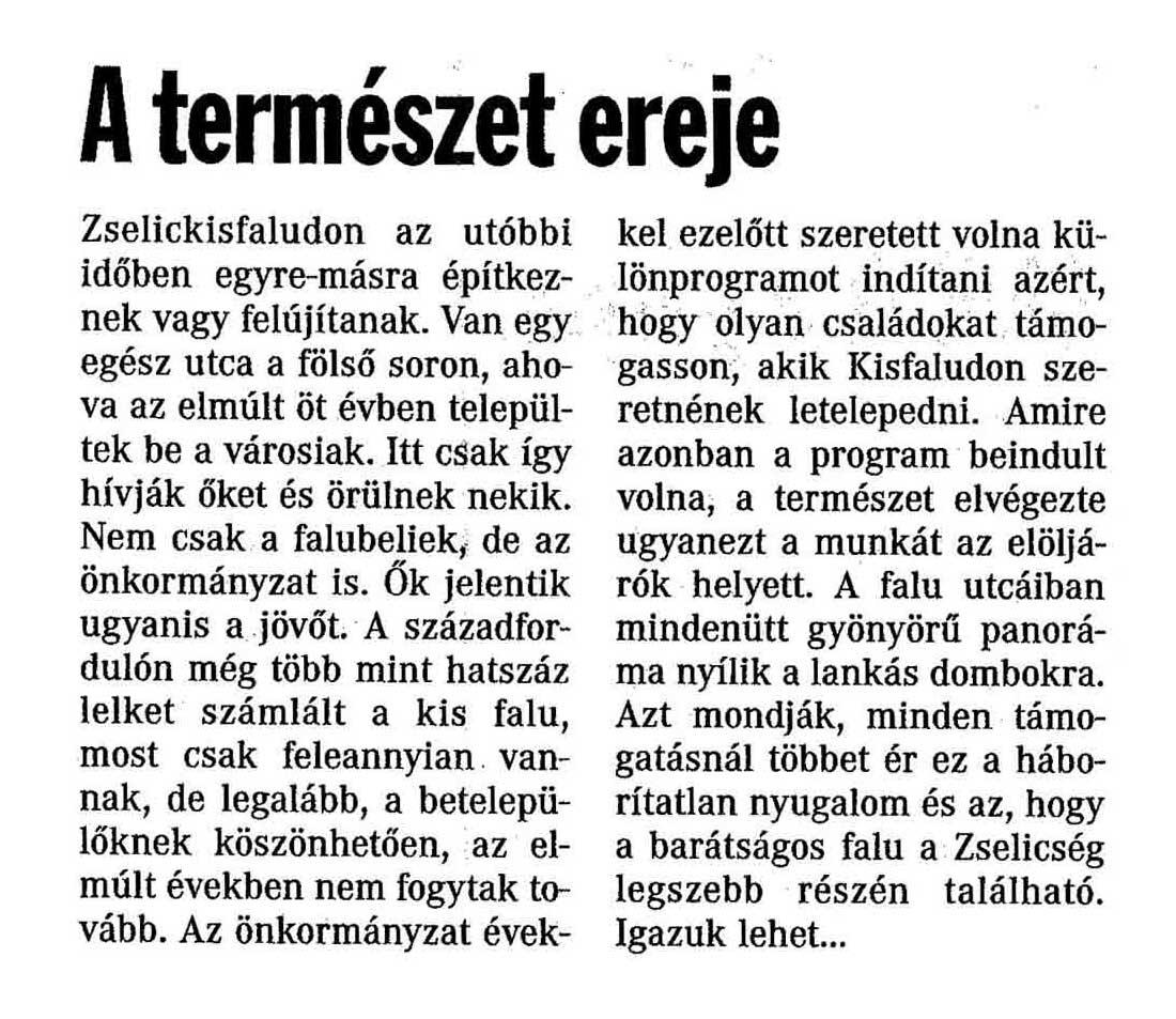 Rólunk írták Zselickisfalud 2005